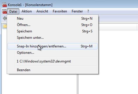 """Wählen von """"Datei"""" -> """"Snap-In hinzufügen/entfernen"""""""