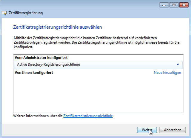 """Zertifizierungrichtlinie """"Active Directory-Registrierungsrichtlinie"""" wählen und mit """"weiter"""" bestätigen"""