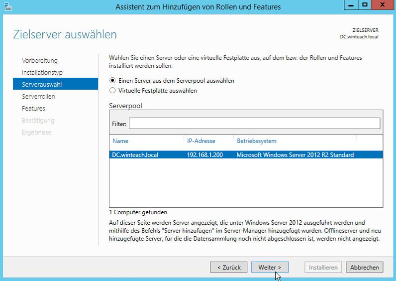 Wähle den Server aus, auf dem die Zertifikatsdienste installiert werden sollen. Dies kann, muss aber nicht der Domänencontroller sein.