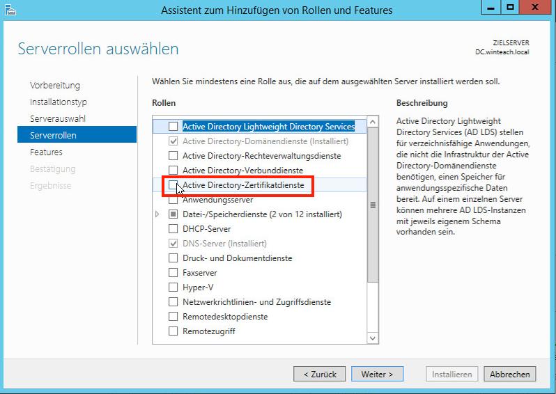 """Serverrolle """"Active-Directory-Zertifikatsdienste"""" wählen"""
