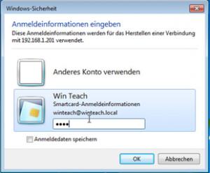 Anmeldung an einer RDP Sitzung (von Windows Client)