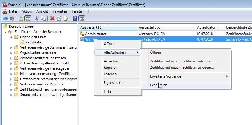 """Das erstellte Zertifikat mit einen Rechtsklick -> """"alle Aufgaben"""" -> """"Exportieren"""" anwählen."""