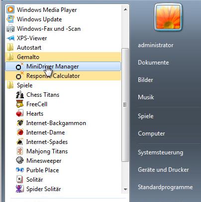 Öffnen des MiniDriver Managers