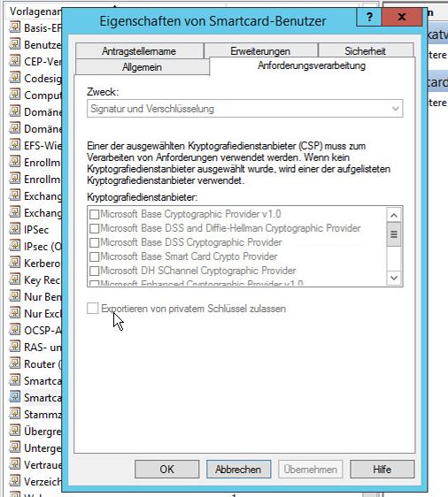 """Standard Zertifikat """"Smartcard Benutzer"""" ohne exportierbaren Private Key"""
