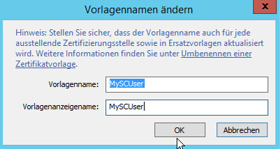 """Demo Zertifikat wird """"MySCUser"""" genannt"""