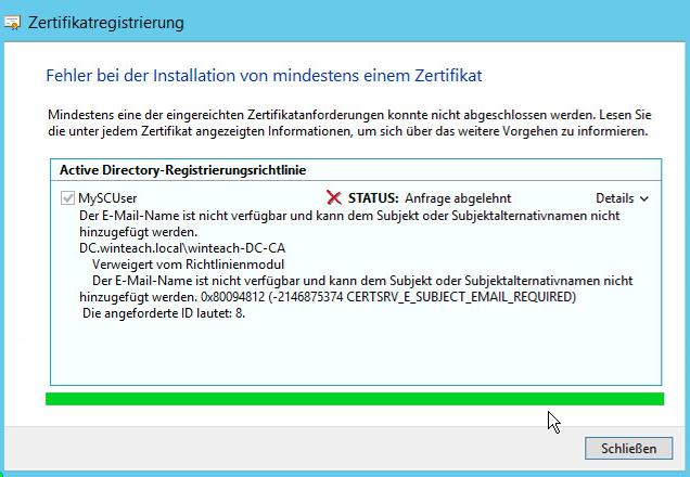 Fehlermeldung Zertifikatsregistrierung - Duplizierte Vorlage