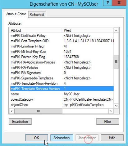 """Doppelklicken auf die Vorlage, unter """"Attribute Editor"""" -> das Attribute """"msPKI-Template-Schema-Version"""" auf """"1"""" ändern und """"Übernehmen"""""""